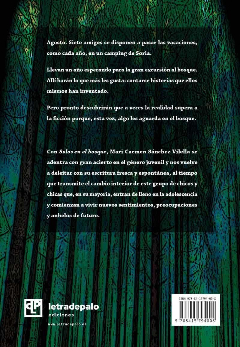Solos en el bosque contraportada